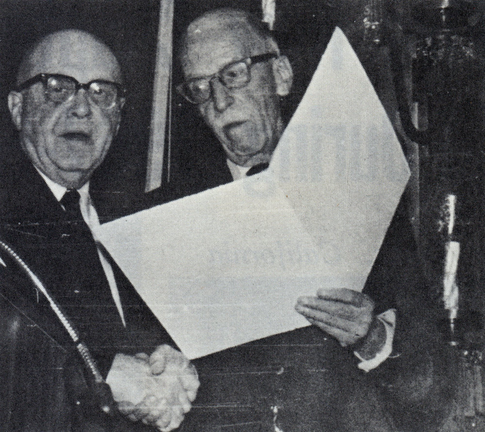 George W. Chapman (R) with Rex A. Smith, Executive Director of Sigma Alpha Epsilon and the retiring president of the CFSA as Chapman recieves a ciation from the College Fraternity Secretaries Association - Nov. 30, 1967