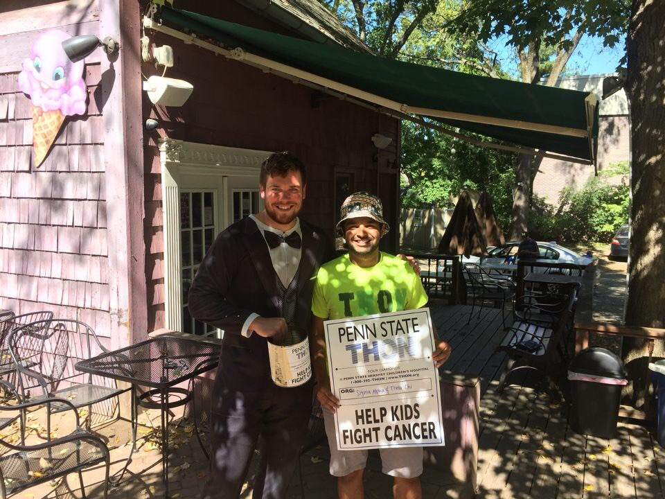 Ryan Gattoni (Tuxedo) and Parth Patel (Neon Shirt) on the last canning trip allowed by THON - Sept. 2017