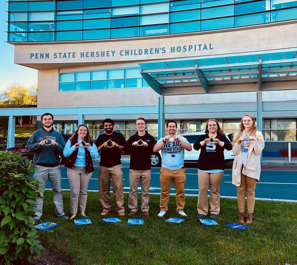 L to R: Jordan Reed, Abby Setley, Parth Patel, Collin Ninke, Dominic Rivera, Caitlin Rauch and Sarah McNeil at Penn State Hersey Medical Center - over 29 spinal tap procedures and counting: brought to you by Sigma Alpha and Theta Chi's THON 2017 fundraising efforts #forthekids #forthecure