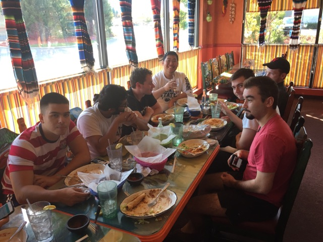 The alumni and Undergraduate brothers enjoy a Sunday brunch at Ray Azteca. From left to right around the table) Bradley Nichols, Parth Patel, Colin Kaye, Danny Lim, Rory McGowan, Patrick O'Brien, and John Sylvester - Fall 2017
