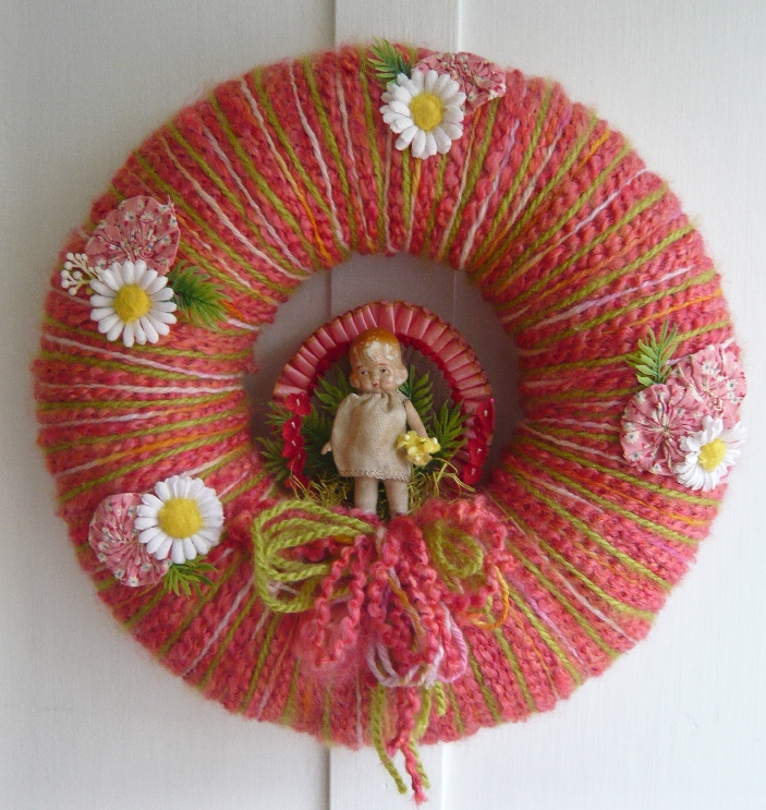 Girl & Yarn Wreath