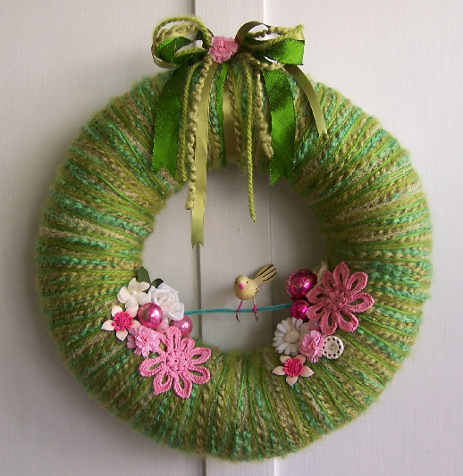 Bird on a Wire Yarn Wreath