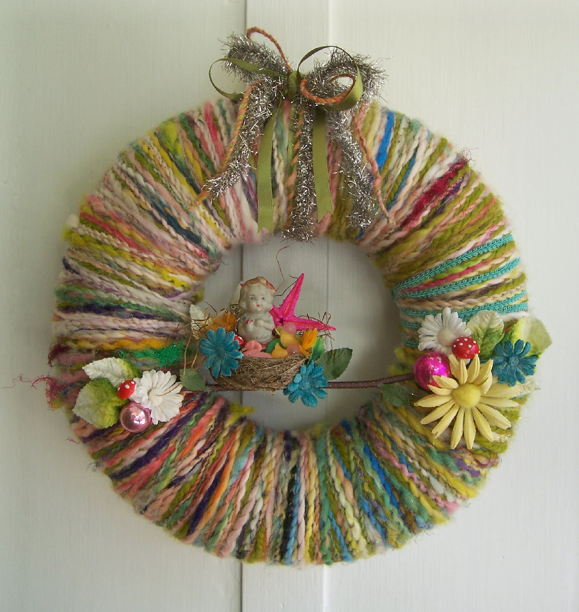 Girl in Nest Yarn Wreath
