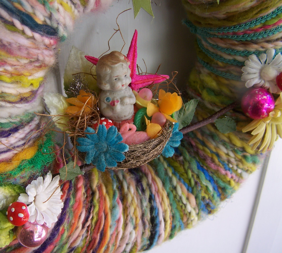 Girl in Nest Yarn Wreath, detail.