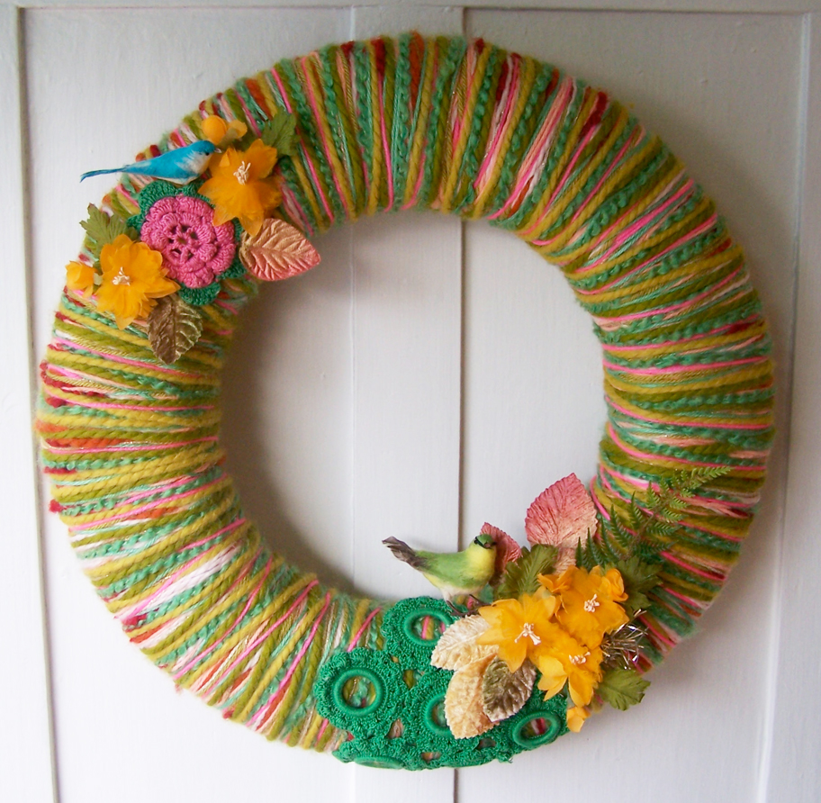 Birds & Yarn Wreath