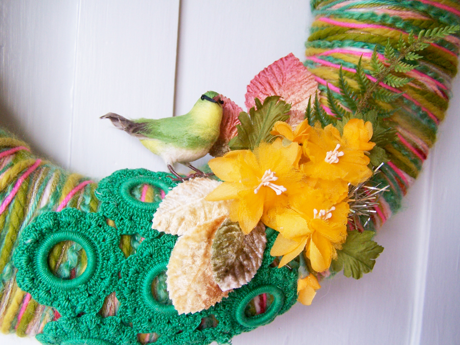 Birds & Yarn Wreath, detail
