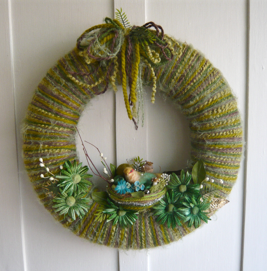Green Nest Yarn Wreath