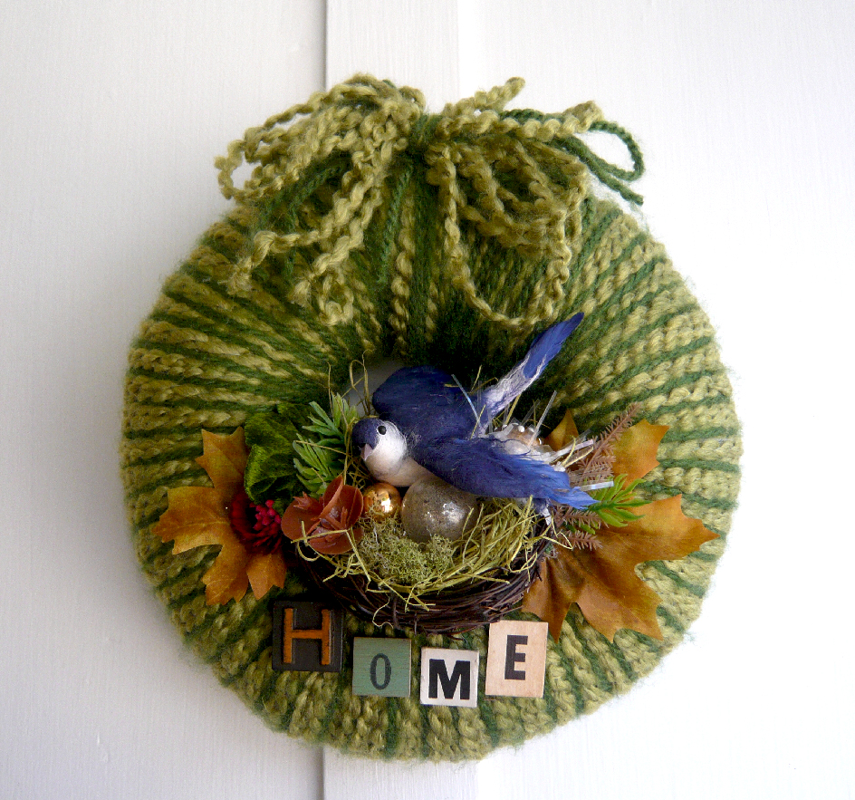 Blue Bird Home Yarn Wreath