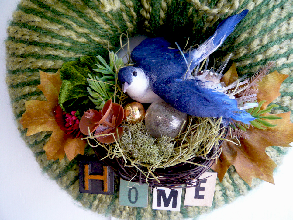 Blue Bird Home Yarn Wreath, detail