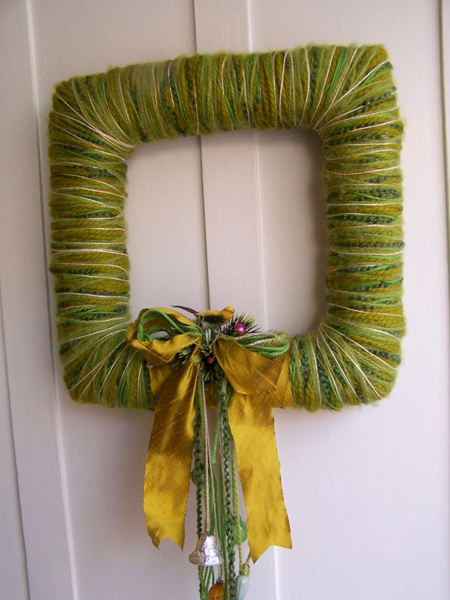 Square Bird & Yarn Wreath