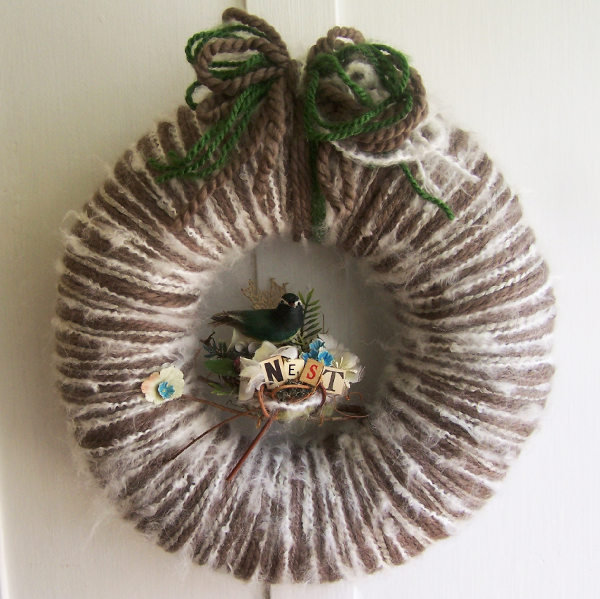 Green Bird Nest Yarn Wreath
