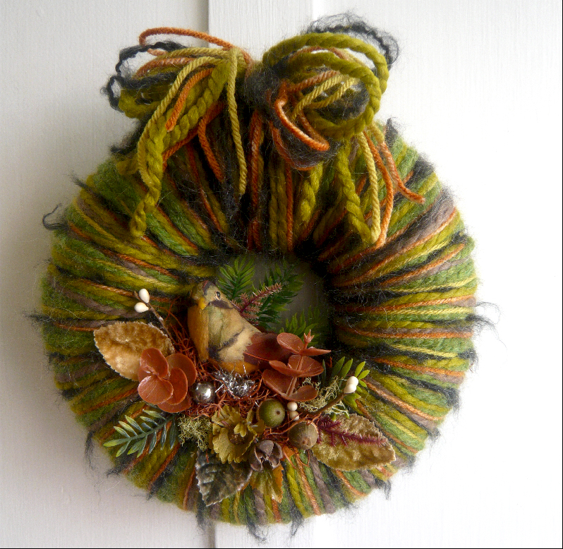Fall Bird & Yarn Wreath