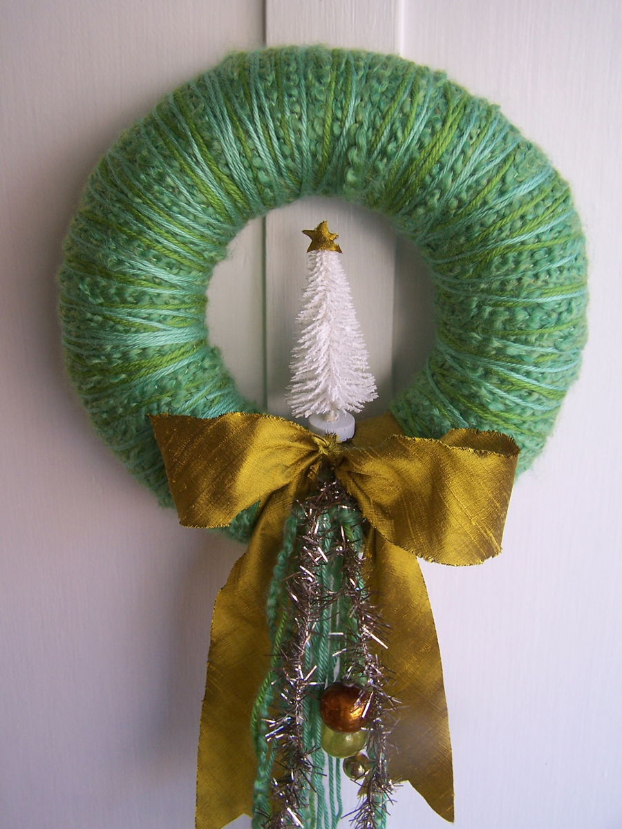 White Tree Yarn Wreath