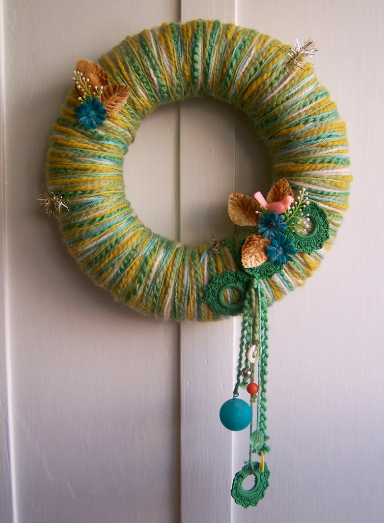 Spring Bird & Yarn Wreath