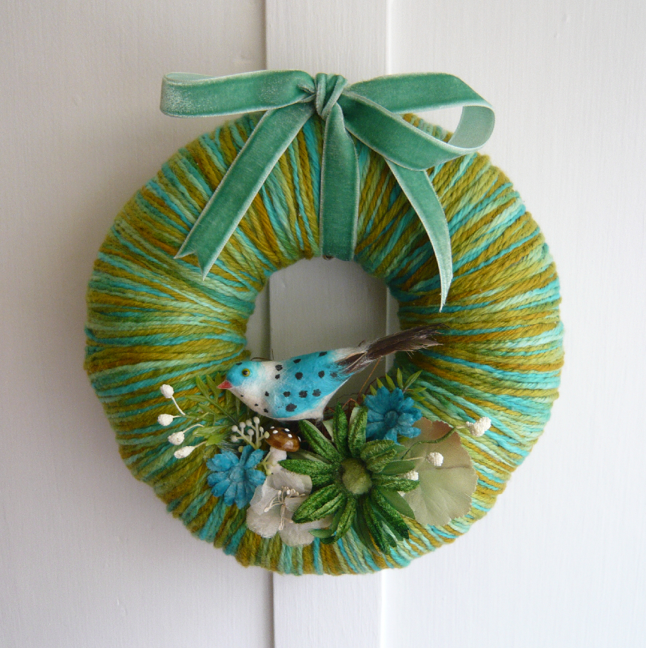 Polka Bird Yarn Wreath