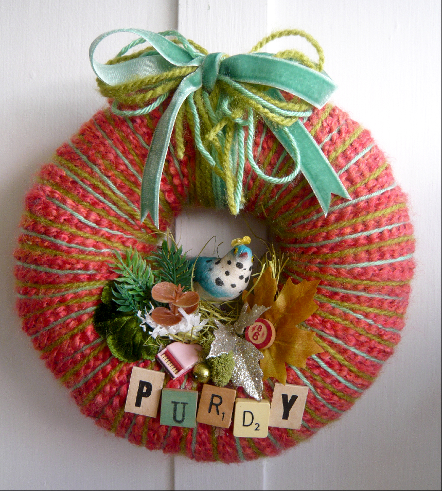 Purdy Bird Yarn Wreath