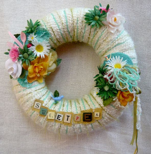 Sweetpea Yarn Wreath, custom