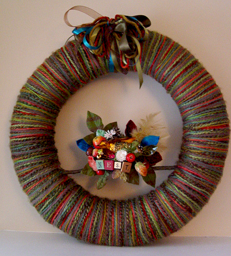 Big Nest Yarn Wreath, custom