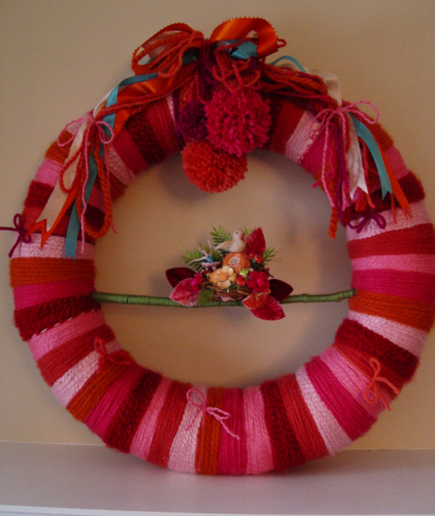Super Pinks Nest Yarn Wreath, custom