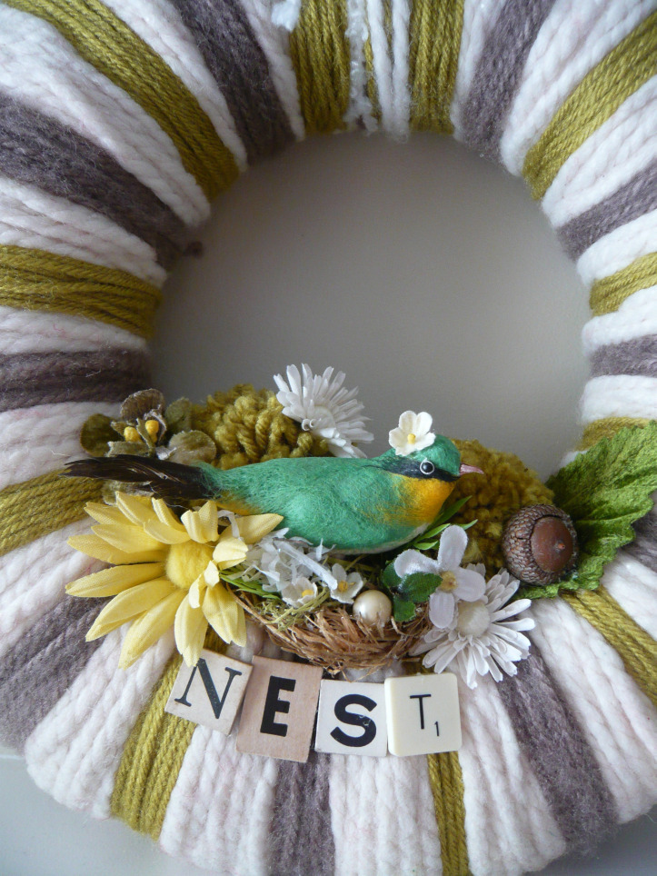 Nest & Stripes Yarn Wreath