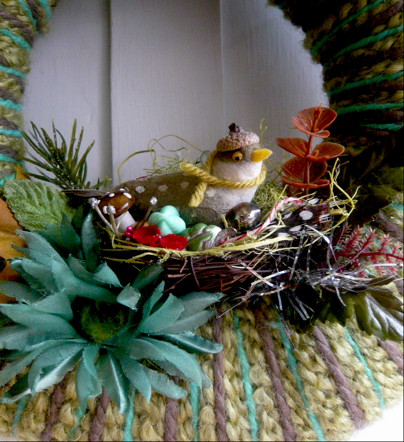 Fall Bird & Yarn Nest II, detail