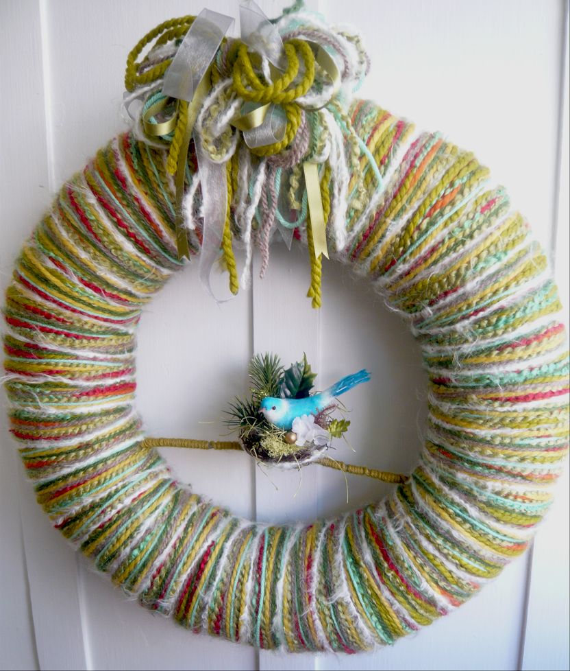 Multi-Stripe Yarn & Nest Wreath