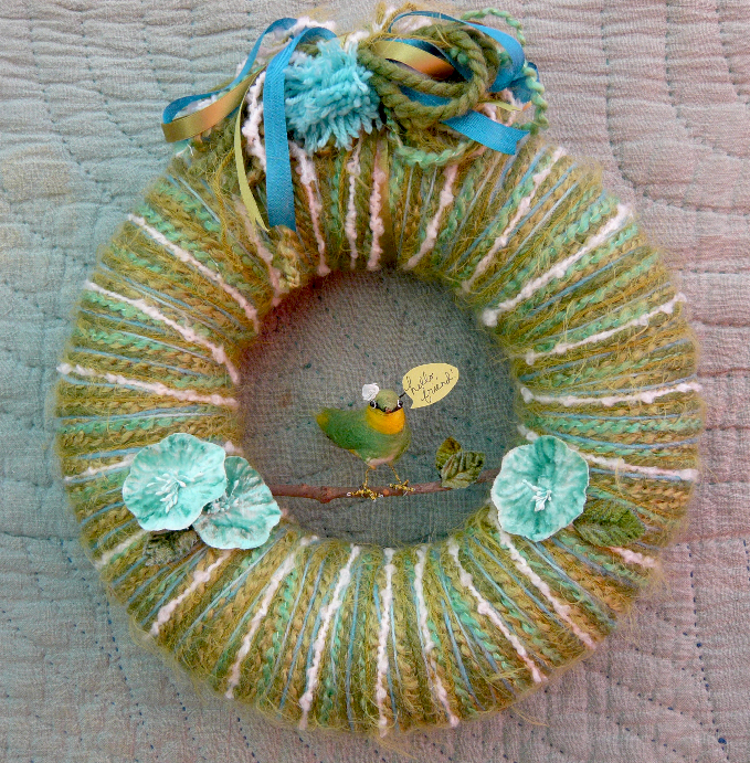 Hello, Friend Yarn Wreath