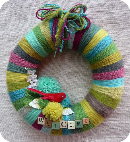 Bird & Stripes Welcome Wreath