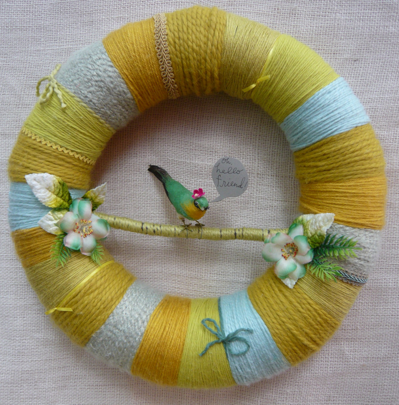 Mustard Stripes Wreath (Oh, hello)