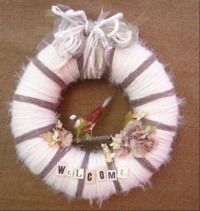 Welcome Bird Yarn Wreath