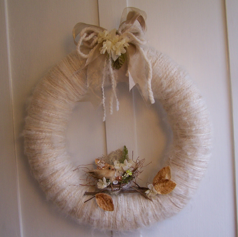 Winter Whites Nest & Yarn Wreath
