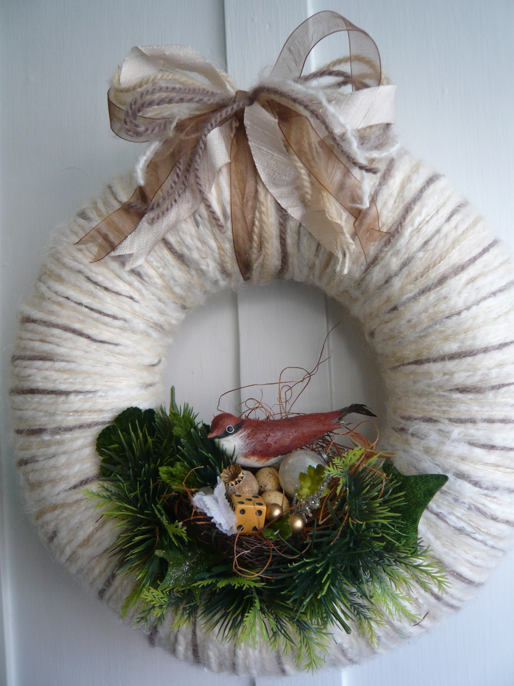 Woodland Nest Yarn Wreath