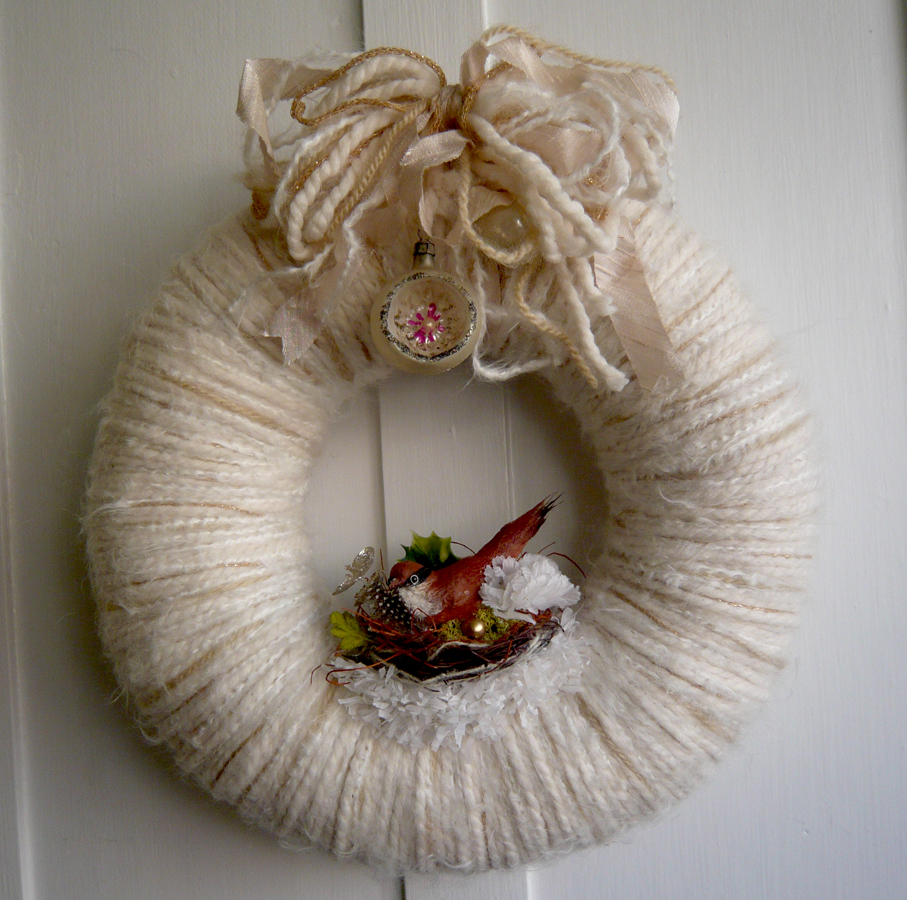 Winter Bird & Nest Yarn Wreath