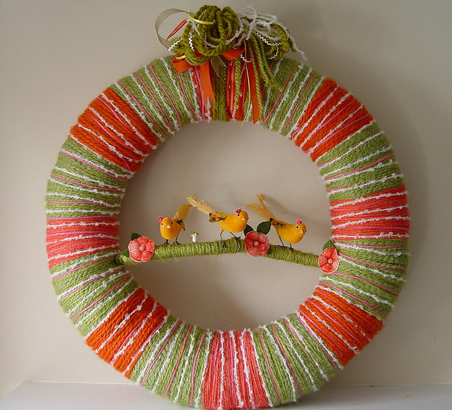 Sister Birds Yarn Wreath