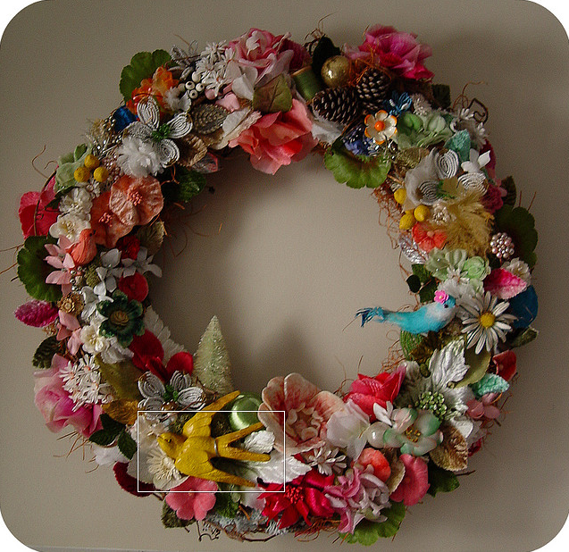 She Wore Birds & Flowers Nest Wreath