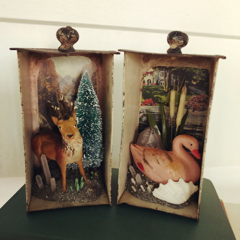 Deer and Swan Scene Assemblage