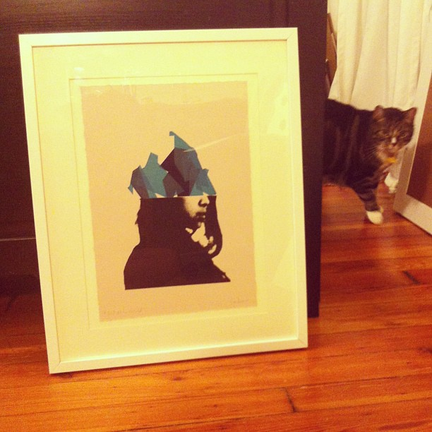 Framed + Cat Hair Free. One half of a pair of prints— see it on Saturday. #screenprinting #portraits #catsofinstagram