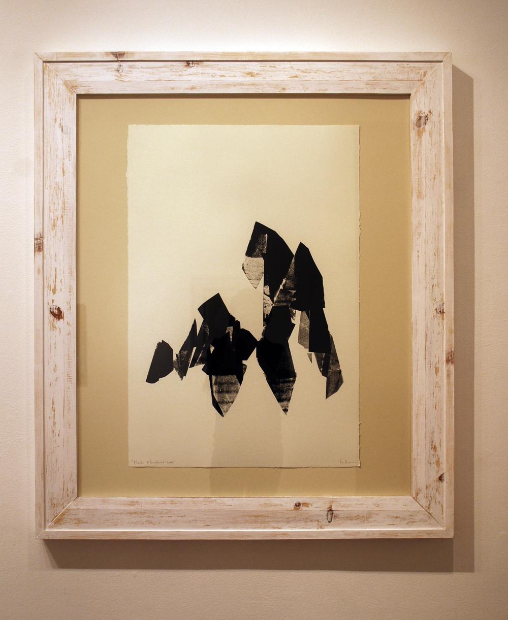 """Black Mountains: East"", 20"" x 30"", Screenprinted Monotype, Handmade Frame."