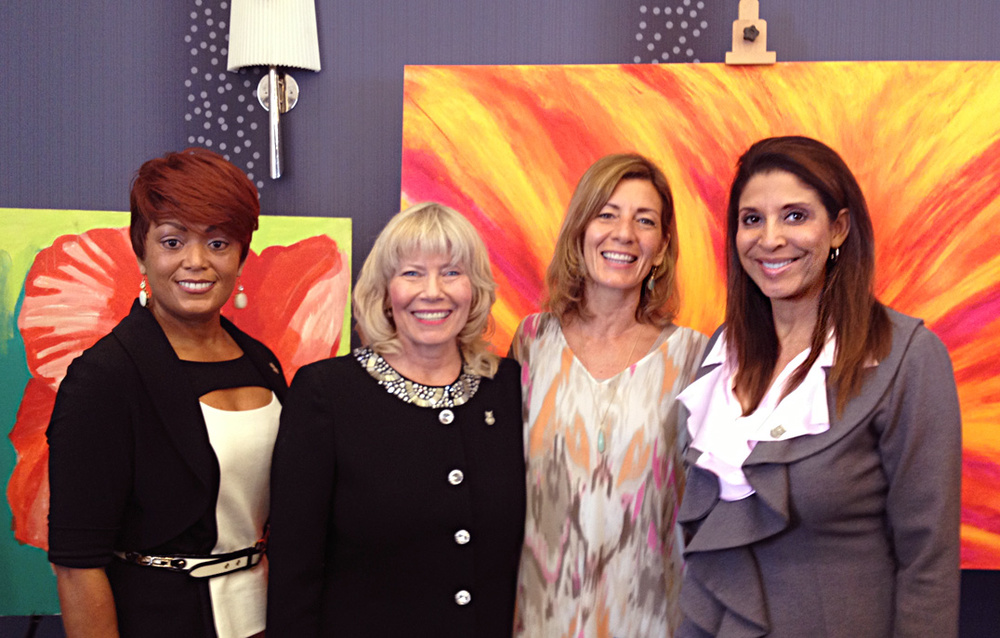 OWL Honoree Santa Monica Chief of Police Jacqueline A. Seabrooks, President of Santa Monica Chamber of Commerce Laurel Rosen, Artist & Founder of Honoring Your Spiritual Journey, Rosanna Ferraro-Jensen,  and OWL Honoree Channel 11 News Anchor Christine Divine.