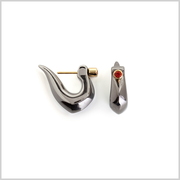Firefly loop earrings - £290 Silver plated in 18k gold and black rhodium and embellished with fire opals