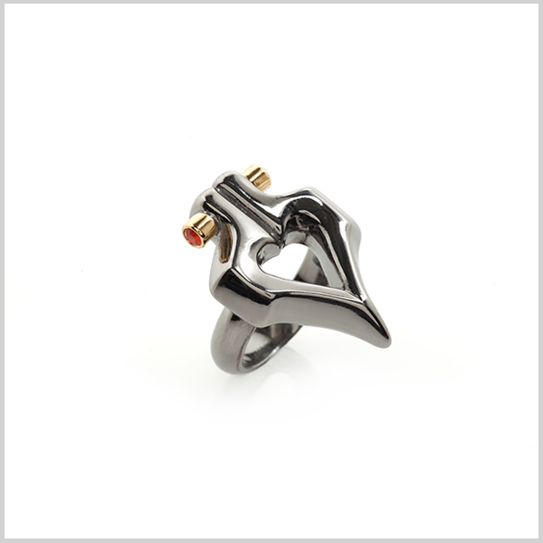 Double firefly ring - £280  Silver plated in 18k gold and black rhodium and embellished with fire opals