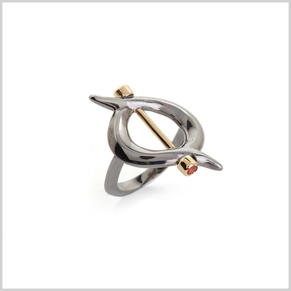 Firefly ring - £240  Silver plated in 18k gold and black rhodium and embellished with fire opals