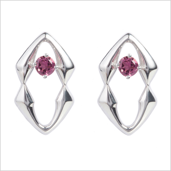 Hope studs   - £225   Silver plated in Rhodium and embellished with pink tourmaline's