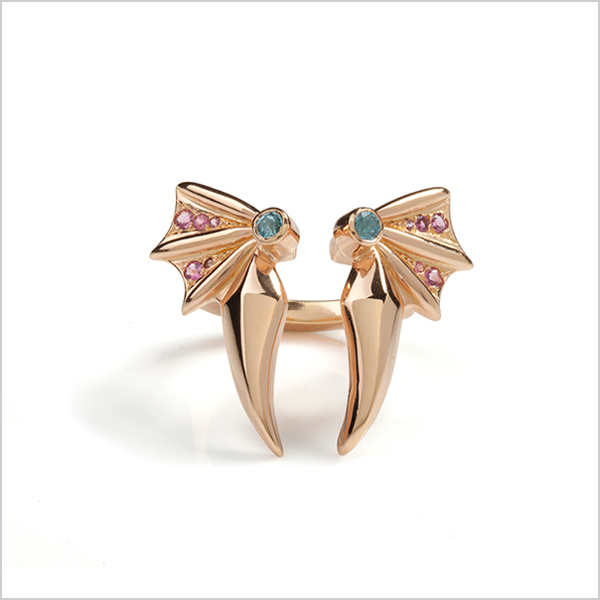 Hope cocktail ring   - £360   Silver plated in rose gold and embellished with blue topaz & pink tourmaline's