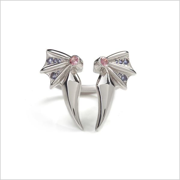 Hope cocktail ring   - £360  Silver plated in rhodium embellished with pink tourmaline's & Iolite
