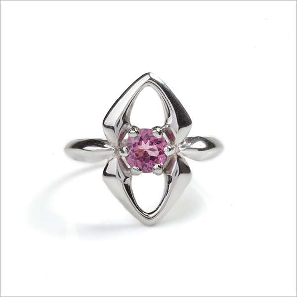 Hope gemstone ring £210   Silver plated in Rhodium and embellished with a pink tourmaline gemstone
