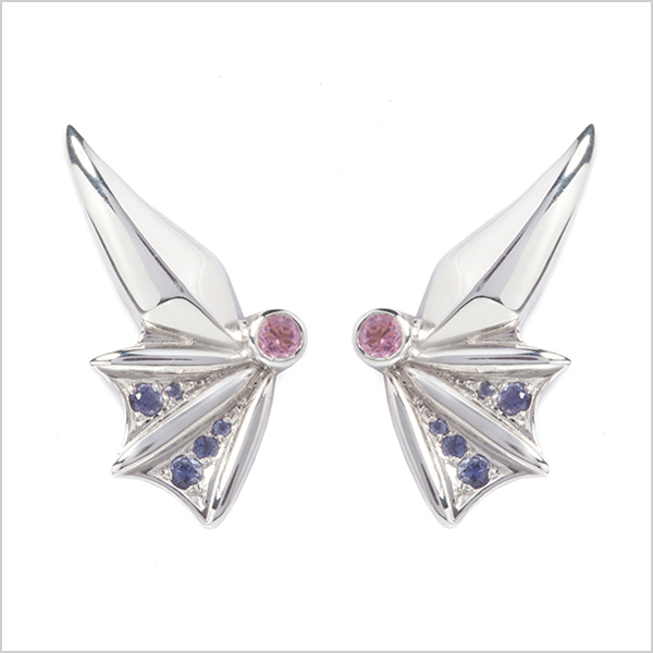 Hope Lobe earrings £350   Silver plated in rhodium embellished with pink tourmaline's & Iolite