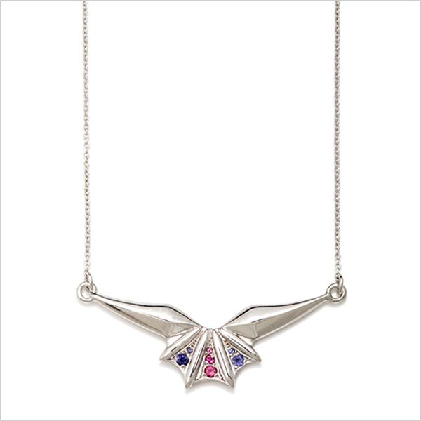 Hope mini necklace £240   Silver plated in rhodium embellished with pink tourmaline's & Iolite