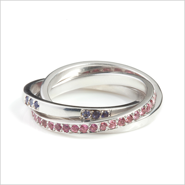 Hope Russian ring £785   Silver plated in rhodium embellished with pink tourmaline's & Iolite