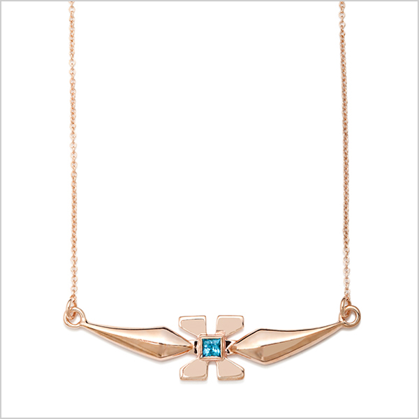 Hope mini necklace £240   Silver plated in rose gold and embellished with blue topaz gemstone
